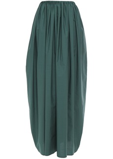 Brunello Cucinelli Woman Gathered Crinkled Cotton-poplin Maxi Skirt Emerald