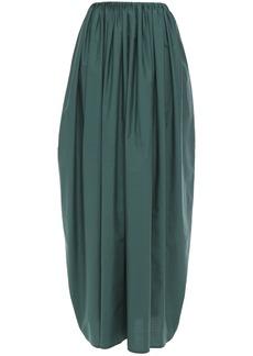 Brunello Cucinelli Woman Gathered Crinkled Cotton-poplin Maxi Skirt Emerald