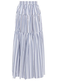 Brunello Cucinelli Woman Gathered Sequin-embellished Striped Cotton-poplin Maxi Skirt White