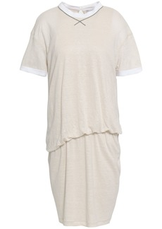 Brunello Cucinelli Woman Gathered Slub Linen And Silk-blend Jersey Mini Dress Ecru