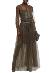 Brunello Cucinelli Woman Satin-trimmed Gathered Tulle Gown Sage Green
