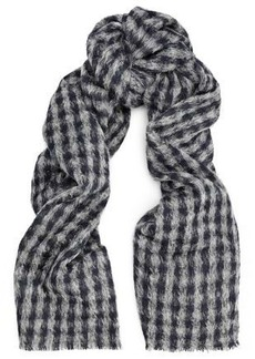 Brunello Cucinelli Woman Gingham Alpaca And Wool-blend Scarf Gray