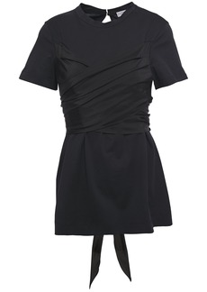 Brunello Cucinelli Woman Habotai-paneled Cotton-jersey Top Black