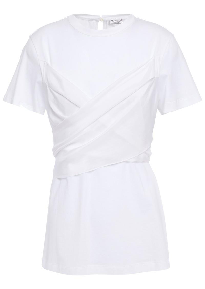 Brunello Cucinelli Woman Habotai-paneled Cotton-jersey Top White