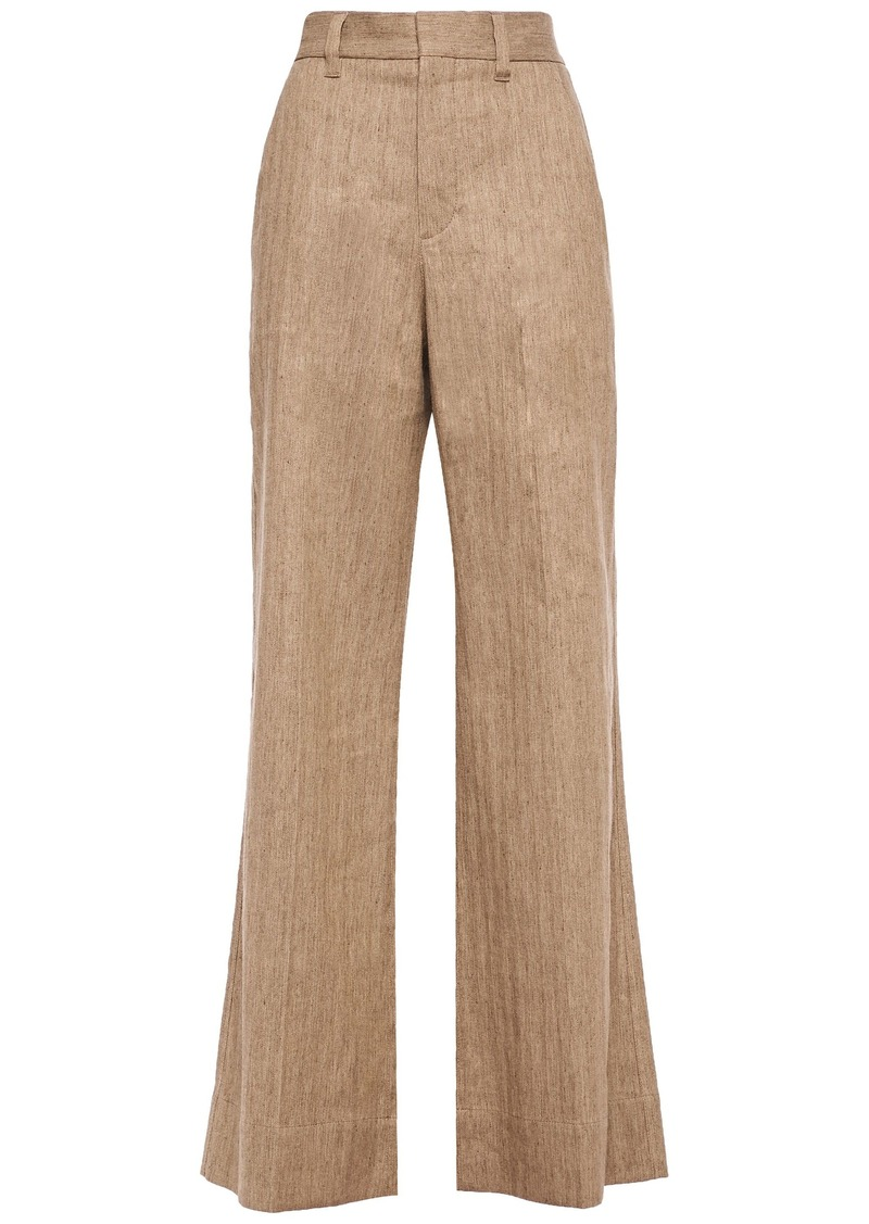 Brunello Cucinelli Woman Herringbone Cotton-blend Wide-leg Pants Sand