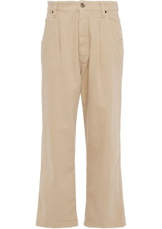 Brunello Cucinelli Woman High-rise Wide-leg Jeans Beige