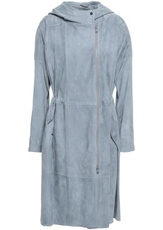Brunello Cucinelli Woman Knit-paneled Suede Hooded Coat Sky Blue