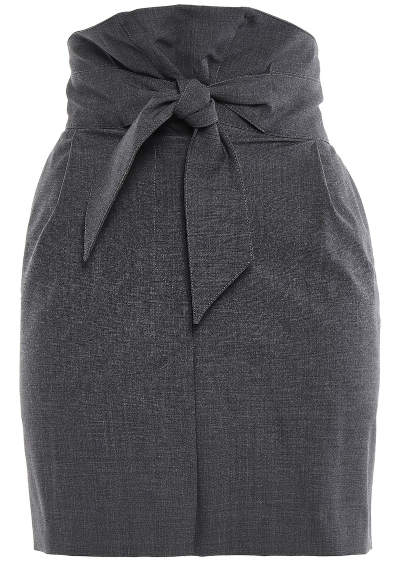 Brunello Cucinelli Woman Knotted Wool-blend Mini Skirt Anthracite