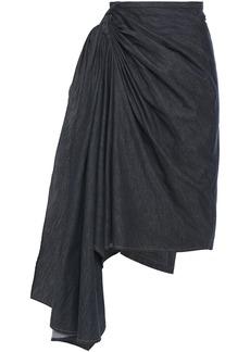 Brunello Cucinelli Woman Layered Denim Wrap Skirt Dark Denim