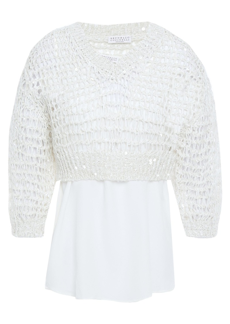 Brunello Cucinelli Woman Layered Embellished Crepe De Chine And Open-knit Sweater Ecru