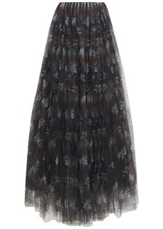 Brunello Cucinelli Woman Layered Printed Tulle Maxi Skirt Black