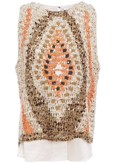 Brunello Cucinelli Woman Layered Silk-satin And Embellished Crocheted Cotton-blend Top Sand