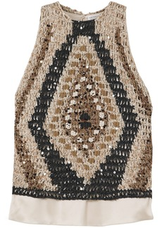 Brunello Cucinelli Woman Layered Silk-satin And Embellished Crocheted Cotton-blend Top Beige