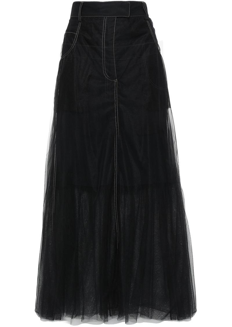 Brunello Cucinelli Woman Layered Tulle Maxi Skirt Black