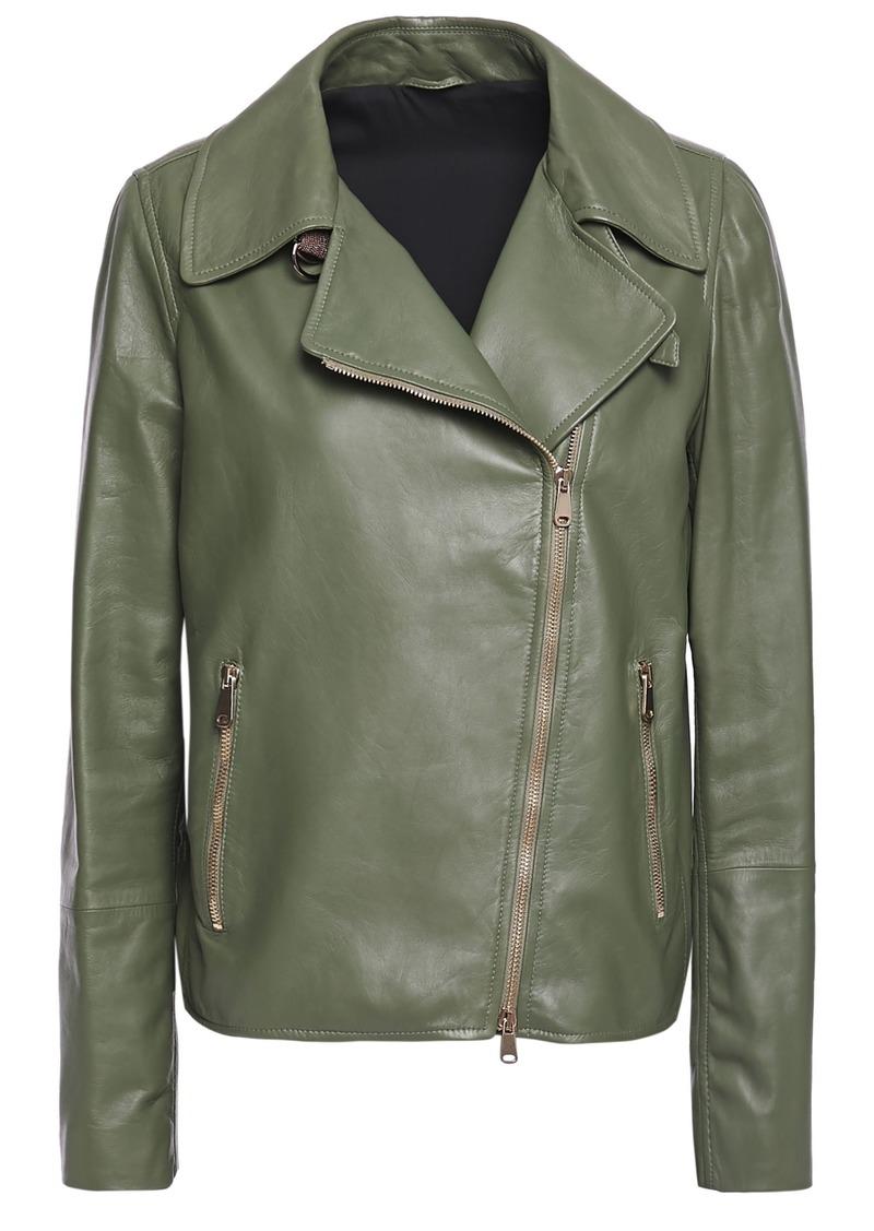 Brunello Cucinelli Woman Leather Biker Jacket Leaf Green