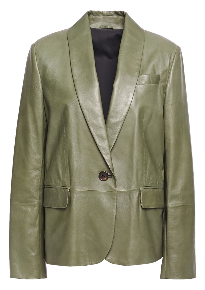 Brunello Cucinelli Woman Bead-embellished Leather Blazer Army Green