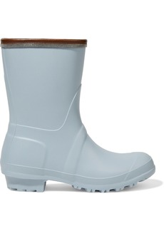 Brunello Cucinelli Woman Bead-embellished Leather-trimmed Rubber Rain Boots Sky Blue