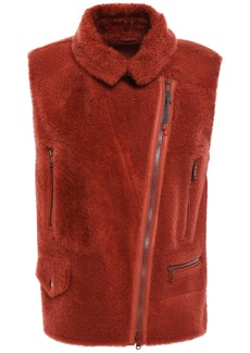 Brunello Cucinelli Woman Leather-trimmed Bead-embellished Shearling Vest Brick