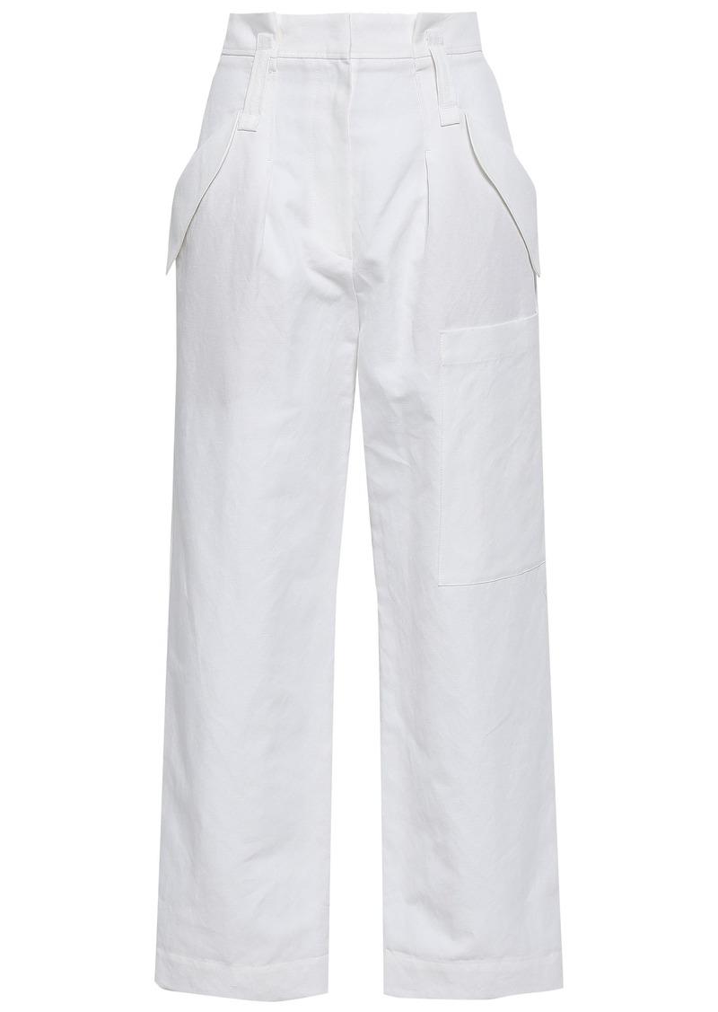 Brunello Cucinelli Woman Linen And Cotton-blend Straight-leg Pants Off-white