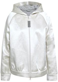 Brunello Cucinelli Woman Linen-blend Satin Hooded Jacket Light Gray