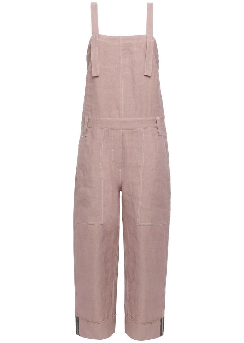 Brunello Cucinelli Woman Linen-blend Twill Jumpsuit Pastel Pink