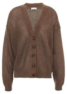Brunello Cucinelli Woman Metallic Brushed Open-knit Cardigan Brown