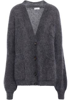 Brunello Cucinelli Woman Metallic Brushed Ribbed-knit Cardigan Dark Gray