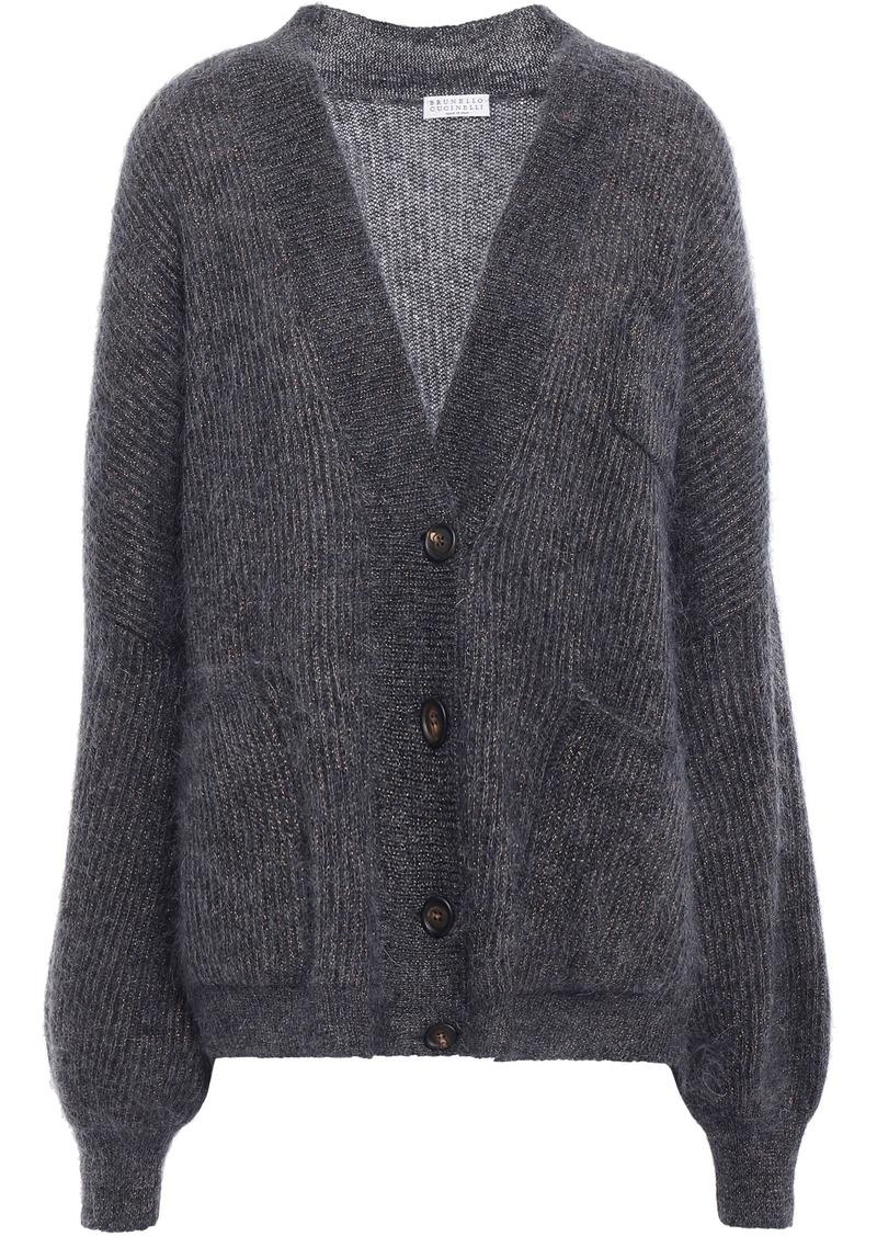 Brunello Cucinelli Woman Metallic Brushed Ribbed-knit Cardigan Dark Gray