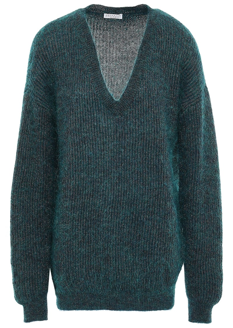 Brunello Cucinelli Woman Metallic Brushed Ribbed-knit Sweater Petrol