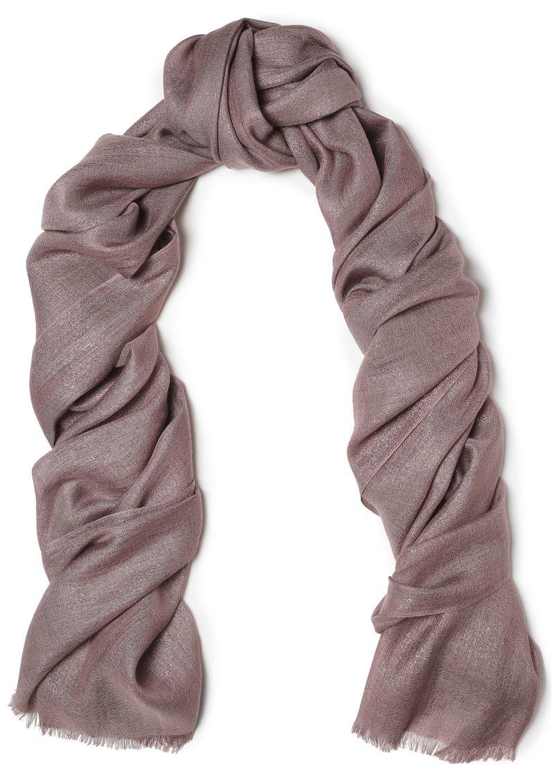 Brunello Cucinelli Woman Metallic Cashmere-blend Gauze Scarf Taupe
