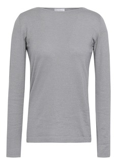 Brunello Cucinelli Woman Metallic Cashmere-blend Sweater Gray