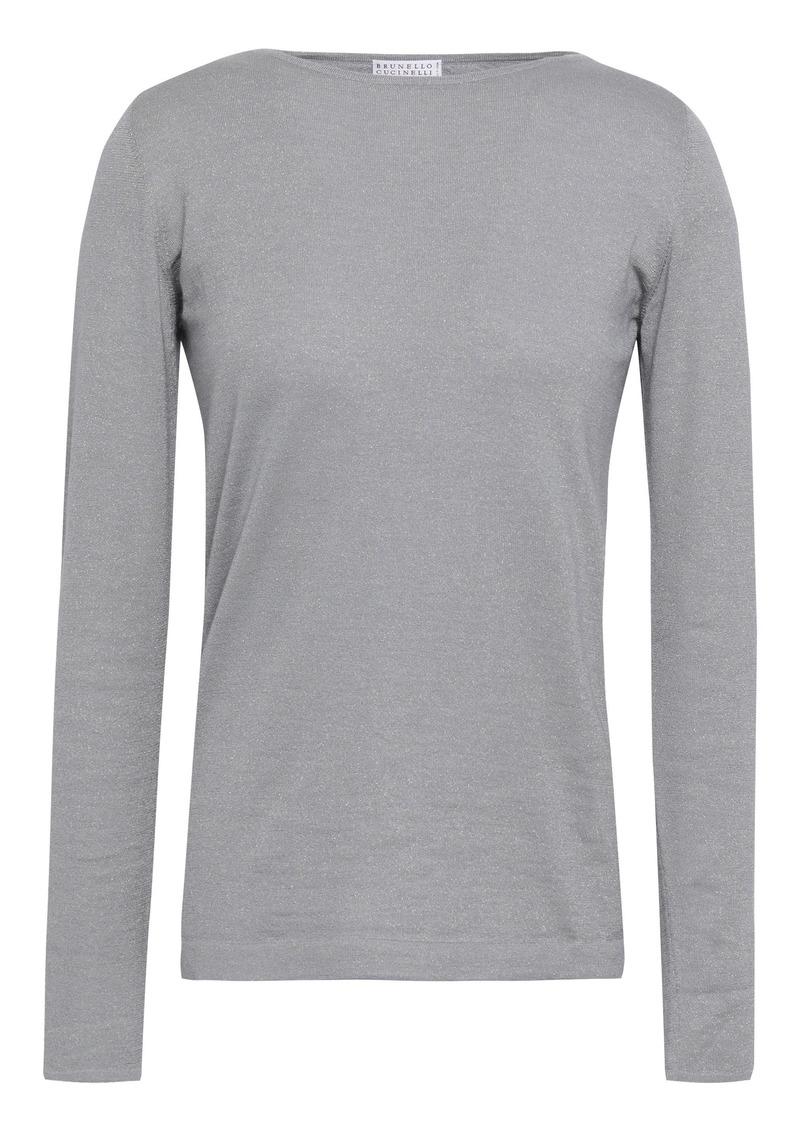 Brunello Cucinelli Woman Metallic Cashmere-blend Sweater Gray
