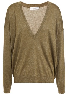Brunello Cucinelli Woman Metallic Cashmere-blend Sweater Sage Green
