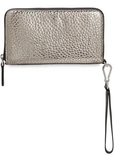Brunello Cucinelli Woman Metallic Croc-effect Leather Continental Wallet Silver