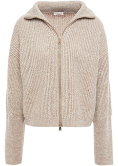 Brunello Cucinelli Woman Metallic Mélange Ribbed-knit Cardigan Beige