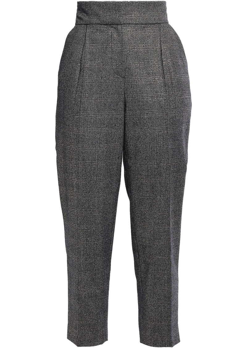 Brunello Cucinelli Woman Metallic Prince Of Wales Checked Wool-blend Tapered Pants Anthracite