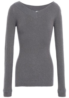 Brunello Cucinelli Woman Metallic Ribbed-knit Top Gray