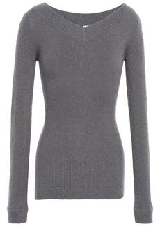 Brunello Cucinelli Woman Metallic Ribbed-knit Top Gray