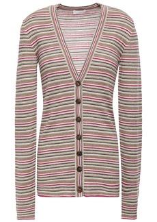 Brunello Cucinelli Woman Metallic Striped Cashmere And Silk-blend Cardigan Beige