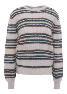 Brunello Cucinelli Woman Metallic Striped Knitted Sweater Gray