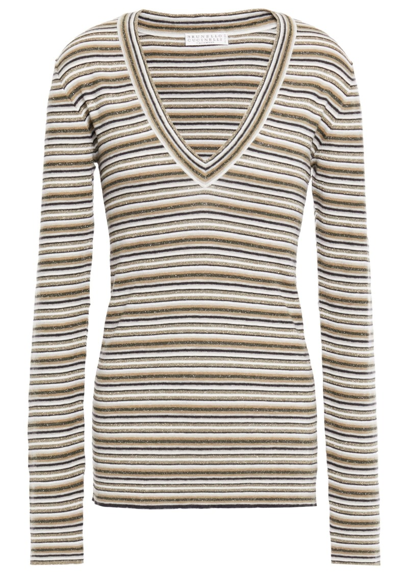 Brunello Cucinelli Woman Metallic Striped Knitted Sweater Sand