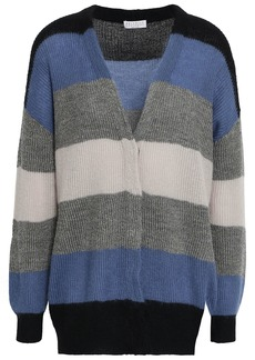 Brunello Cucinelli Woman Metallic Striped Ribbed-knit Cardigan Light Blue