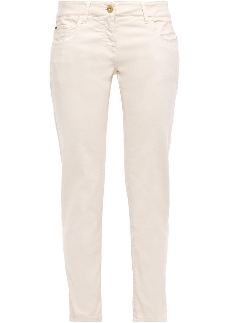 Brunello Cucinelli Woman Mid-rise Slim-leg Jeans Off-white