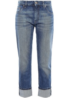 Brunello Cucinelli Woman Mid-rise Straight-leg Jeans Mid Denim