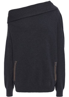Brunello Cucinelli Woman One-shoulder Bead-embellished Cashmere Sweater Charcoal