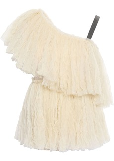 Brunello Cucinelli Woman One-shoulder Bead-embellished Crinkled-tulle Top Pastel Yellow