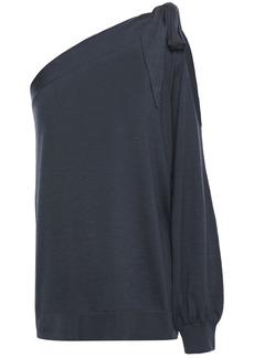 Brunello Cucinelli Woman One-shoulder Cutout Cashmere And Silk-blend Top Navy