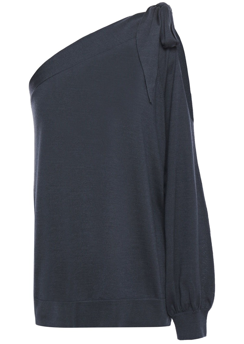 Brunello Cucinelli Woman One-shoulder Cutout Cashmere And Silk-blend Top Navy