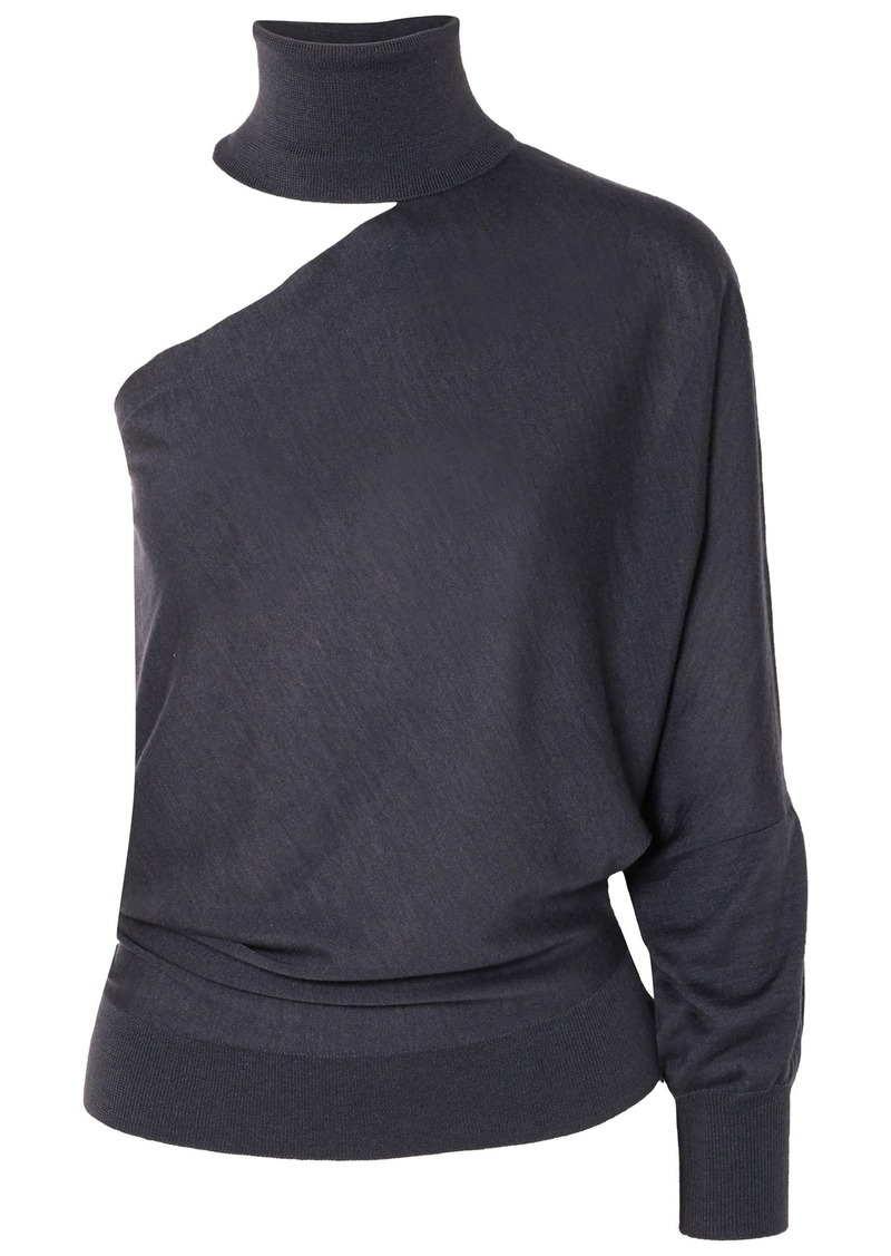 Brunello Cucinelli Woman One-shoulder Cutout Cashmere And Silk-blend Turtleneck Sweater Anthracite