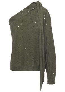 Brunello Cucinelli Woman One-shoulder Sequin-embellished Linen And Silk-blend Top Forest Green